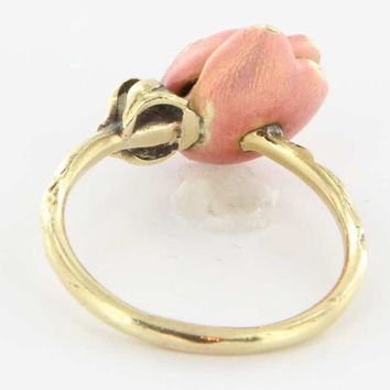 Absolutely Lovely Art Nouveau Enamel 14K Gold Pink Rose Master Art Craft Ring !