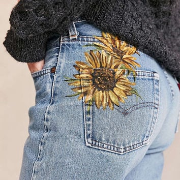 UO Design X Urban Renewal Vintage Levis Painted Sunflower Jean - Urban Outfitters