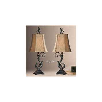 Uttermost Caperana Buffet 24'' H Table Lamp with Bell Shade (Set of 2)