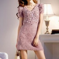 Midnight Kiss Furry Sequin Mini Dress in Mauve  | Sincerely Sweet Boutique