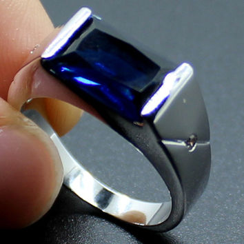 9 925 Sterling Silver Emerald-cut Blue Sapphire Stone Solitaire Wedding Ring for Men
