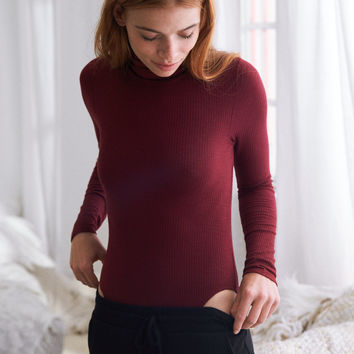 Aerie Ribbed Turtleneck Bodysuit, Burgundy Ivy
