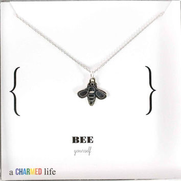Sterling Silver bumble Bee necklace honey bee hive silver charm necklace delicate modern jewelry