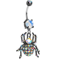 Black Aurora Gem Sparkling Spider Dangle Belly Ring | Body Candy Body Jewelry