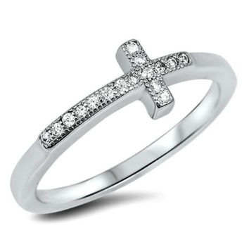 .925 Sterling Silver Christian Cross Ladies Fashion CZ Ring Size 3-12