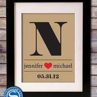 Special Date and Monogram Print - Wedding Gift - Anniversary Gift