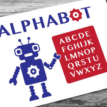 Alphabot Robot Nursery Printable Instant Download, Robot Party, Alphabet Poster, Robot Art, Boys Room, Red White Blue, 4th of July