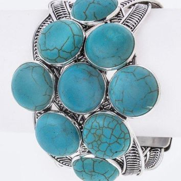 Turquoise Cluster Braided Cuff