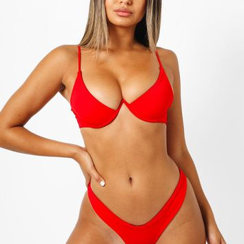 Mia V Wire Bikini Top - Red