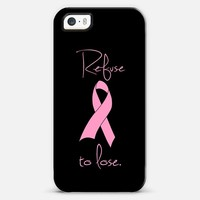 Refuse to Lose Pink Breast Cancer Ribbon Design iPhone 5s case by Rex Lambo | Casetagram