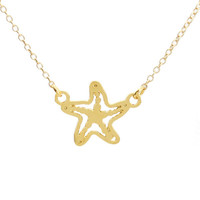 Kris Nations Starfish Charm Necklace Gold Plated & Sterling Silver 18 inch