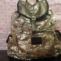 Victoria's Secret PINK bling  back pack in Gold, Special Edition fully sequence