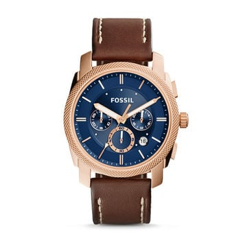 Machine Chronograph Brown Leather Watch - $135.00