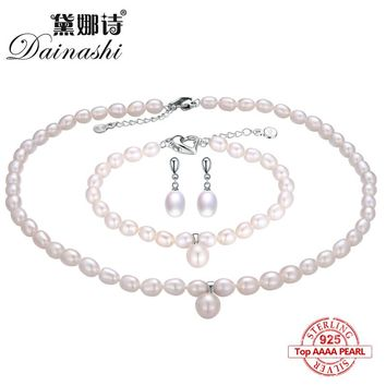 Dainashi 2017 925 sterling silver natural freshwater pearl fine jewelry for women long earrings and necklace and bracelet sets