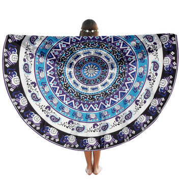 Round Hippie Tapestry Beach Throw Roundie Mandala Towel Beach Pashmina shawl JUL 27