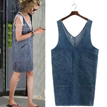 Stylish Rinsed Denim Plus Size Denim Women's Fashion Vest Dress One Piece Dress [4918967556]