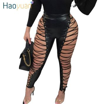 NEW Hollow Out Lace Up Club Party Sexy Pants Women High WaistBandage Zipper Leather Pants
