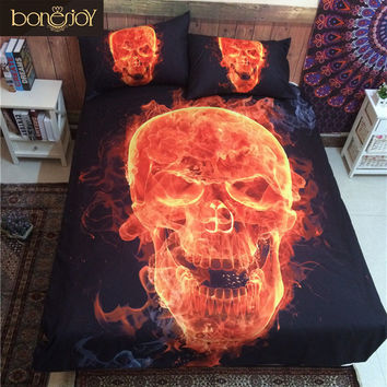 Bonenjoy 3D Skull Bedding Queen Fire Printed Polyester Cotton Bed Sheet Black Bedspread Sugar Skull Quilt Cover Bedding Set