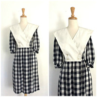 Vintage 80s Dress - checker dress - preppy - midi - picnic dress - David  Warren - S M