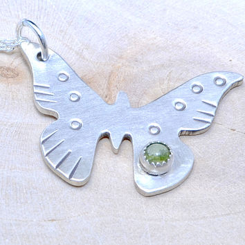 Dainty Sterling Silver Butterfly Charm Necklace with Green Peridot