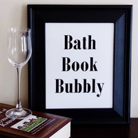 Bath Book Bubbly Art Print. Bathroom Wall Decor. Bathroom Art. Typography Print.
