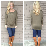 Olive Long Sleeve Modal Tunic Top