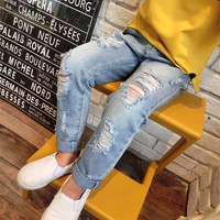 Fashion Kids Girls Ripped Jeans Pants Vintage Soft Pockets Spring Summer Fall Fashion Pants Children Clothing