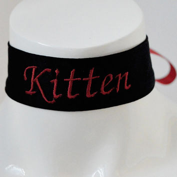 Kitten play collar - Embroidered Kitten - black and red -  ddlg little princess kawaii cute neko lolita pet play - pink embroidery