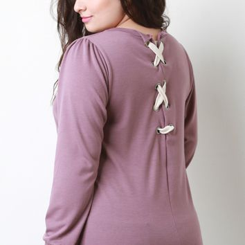 Eyelet Lace-Up Back Sweater Top