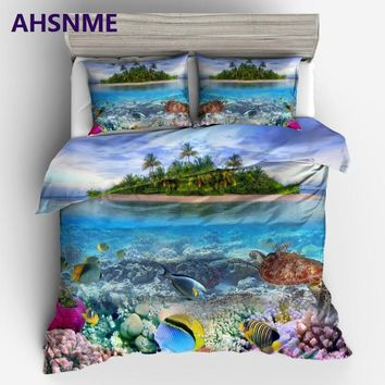 AHSNME Tropical Ocean Beach Coconut Tree Coral Reef Sea Turtle Fish Blue Sky King Queen Size Bedding Set Duvet Cover set Bed