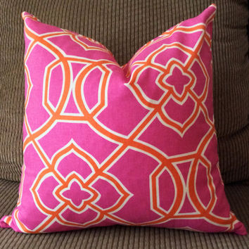 SALE! Handmade Decorative Pillow Cover - Malibar Hot Pink - Pink Orange - Richloom Fabrics
