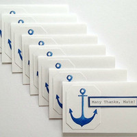 Many Thanks Mate or Personalize Your Own Thanks - Set of 8 Anchor Thank You Note Cards for Showers, Birthdays - Nautical Theme