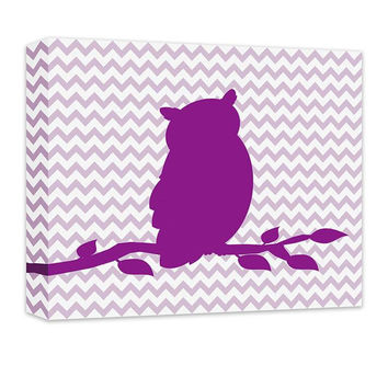Owl on a Branch Children's Canvas Wall Art