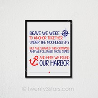 Anchor Love Nautical Wall Art - Choose Any Colors - twenty3stars