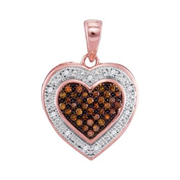 10kt Rose Gold Womens Round Red Color Enhanced Diamond Heart Halo Pendant 1/8 Cttw