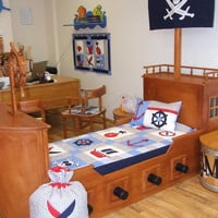NAUTICAL Ship's Bedding into Children's Room - Pirate Quilt Blanket, Pirate Wall Hanging, Bag, with a skull applicated Flag