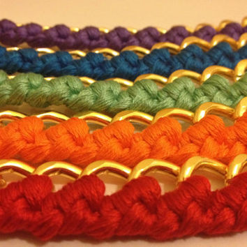 Chunky Woven Chain Bracelet - Multiple Colors Available