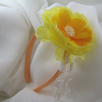 Handmade Headband Toddler Children, Bright Yellow & Orange Silk Flower with Pearls, Dressy or Casual,