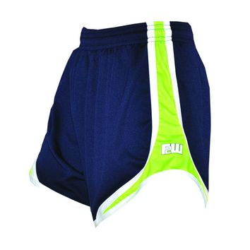 Womens Split Shorts navy with lime sides