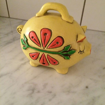 Groovy Yellow Pig ,  Piggy Bank , Paper Mache Bank , Retro Pig Bank Yellow Orange Avacado Green