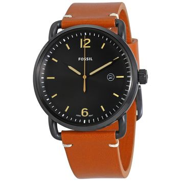 Fossil Mens FS5276 Commuter Black Dial Brown Leather Watch