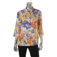 Alfred Dunner Womens Petites Floral Print 3/4 Sleeves Casual Top