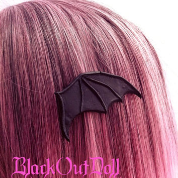 Black Bat Medieval Fairy Tale Wings Majestic Magical Hair Clips