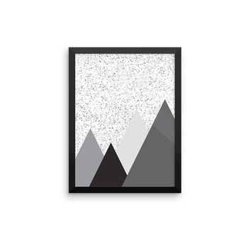Mountains 1 | ART PRINT | A5/A4/A3/A2 - Geometric, Scandinavian, Minimalist, Digital Print, Graphic Design, Black & White, Marble, Mountain