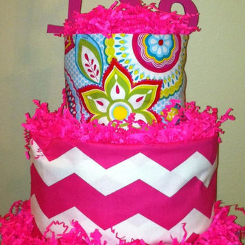 Baby Girl Diaper Cake, Girl 3 Tier Diaper Cake, Shower Centerpiece, Pink Multi Print, Pink Chevron with Wooden letter (optional monogram)