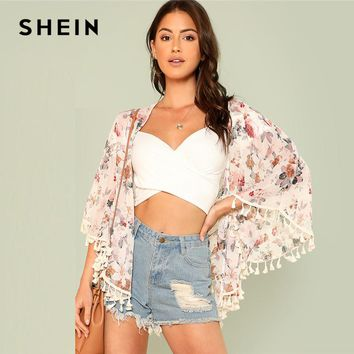 SHEIN Flower Print Tassel Hem Kimono 2018 Summer Three Quarter Length Sleeve Floral Print Top Women Fringe Vacation Beach Kimono