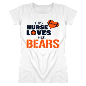 This Nurse Loves Her Bears Football T Shirt - Chicago Bears Team Colors