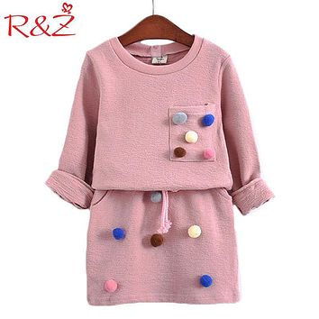 R&Z 2017 Girls Winter Clothing Set Long Sleeve Shirt with Ball with Pencil Skirt Pink Blue Color Fashion Clothes Set Kids Childr