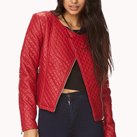 FOREVER 21 Bold Quilted Moto Jacket Red Small