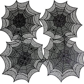 Benson Mills Spider Web Pressed Vinyl Placemats, Black, Set of 4